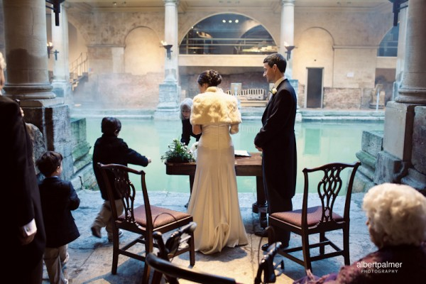Fi and Giles getting married at the Roman Baths, bath