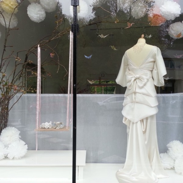 Jessica Charleston Wedding Dress Shop Window - April with Orchidee Wedding Dress