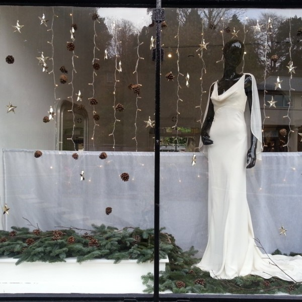 Twelve window displays in Bath wedding dress shop