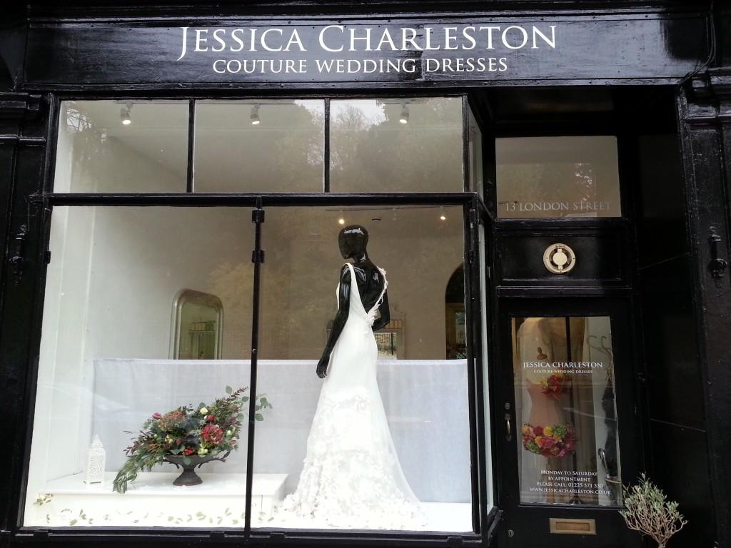 Twelve window displays in bath wedding dress shop for How to start a wedding dress shop