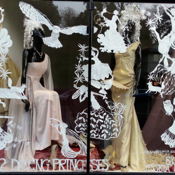 Window display with paper cuts of the Twelve Dancing Princesses