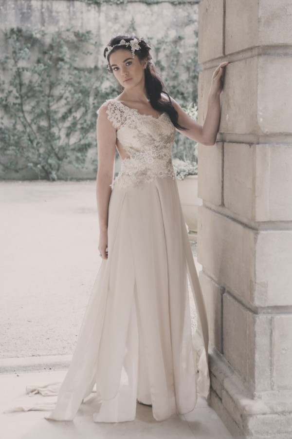 Ophelia - Silk Chiffon and Georgette with Lace Appliqué