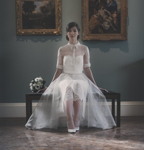 Sophia - Silk Organza Full Circle Skirt with Dupion Bodice and Organza Blouse. Worn with Petunia Guipure Lace Capri Pants