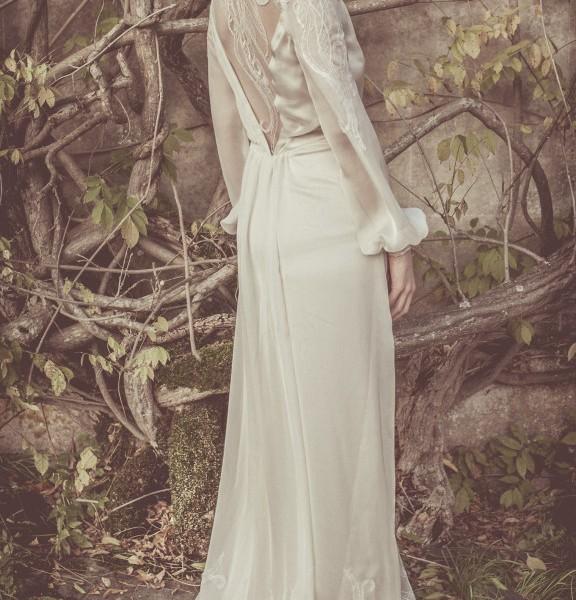 Wisteria - Silk chiffon dress with French lace detail