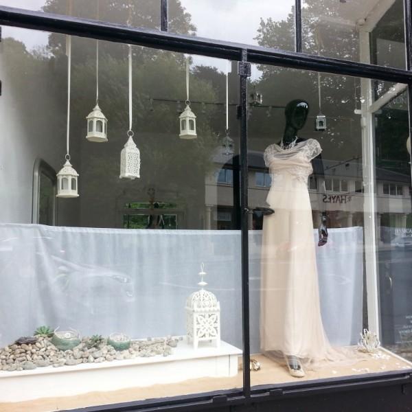 Jessica Charleston Wedding Dress Shop Window, August with lanterns