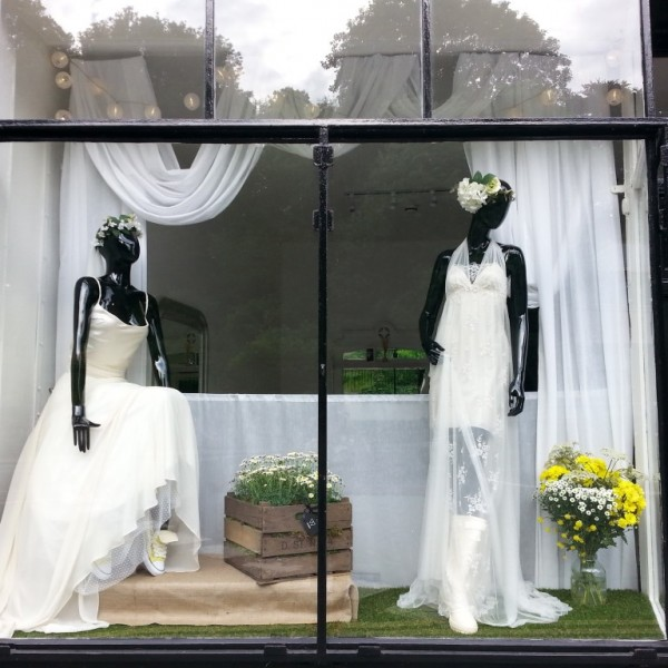June festival themed wedding window with flowers